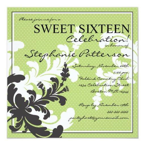Invitación floral del dulce dieciséis del damasco