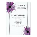 Invitación floral del fiesta - púrpura