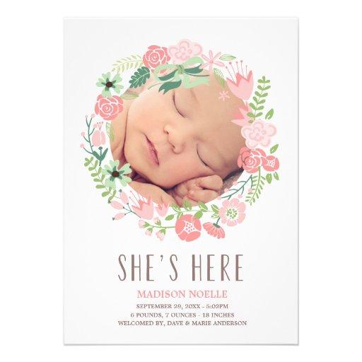 Invitación floral del nacimiento de la guirnalda e
