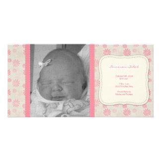 Invitación floral del nacimiento del vintage dulce tarjeta con foto personalizada