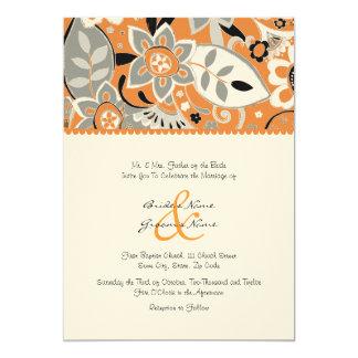 Invitación floral del naranja y del boda de la