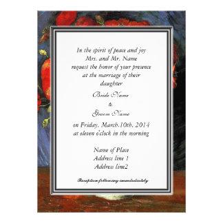 Invitación floral del vintage, amapolas del rojo