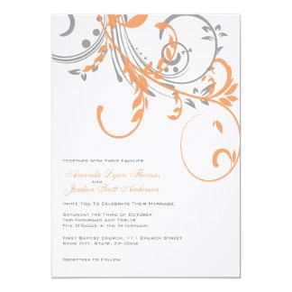 Invitación floral doble gris y anaranjada del boda