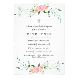 Invitación floral dulce del bautismo