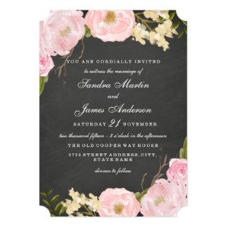 Invitación floral elegante del boda de la pizarra