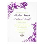 Invitación floral elegante del boda en verde púrpu