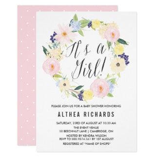 Invitación floral en colores pastel de la fiesta