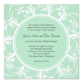 Invitación floral fresca del boda en verde menta
