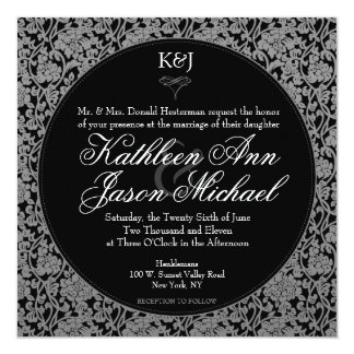 Invitación floral gótica del boda del monograma invitación 13,3 cm x 13,3cm