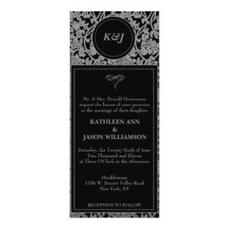 Invitación floral gótica del boda del monograma invitación 10,1 x 23,5 cm