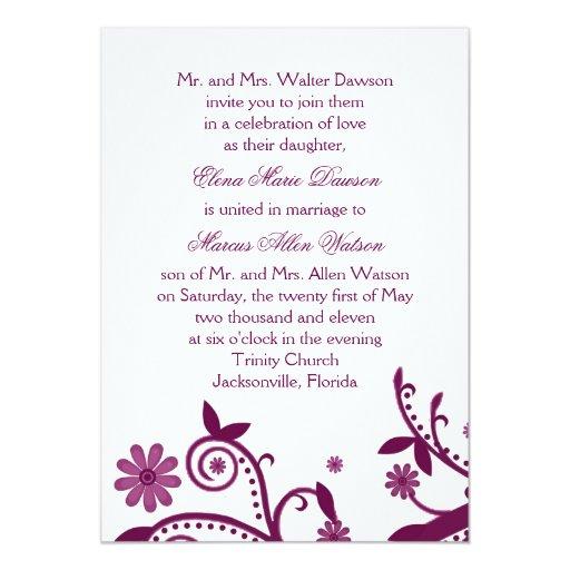 Invitación floral magenta del boda del remolino