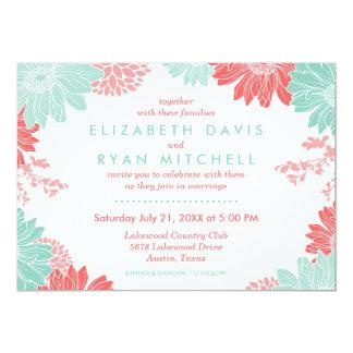 Invitación floral moderna del boda del coral y de