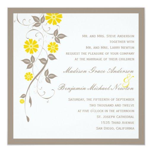 Invitación floral moderna del boda - mostaza