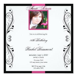 Invitación floral moderna del fiesta del rosa y