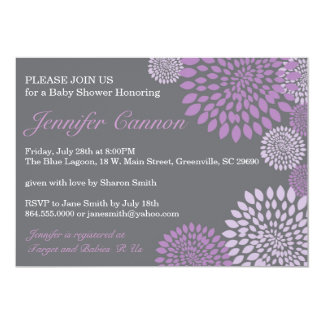 Invitación floral moderna púrpura gris de la invitación 12,7 x 17,8 cm