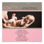 Invitación floral moderna rosada del bebé de la invitación 13,3 cm x 13,3cm