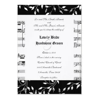 Invitación floral negra del boda de la música