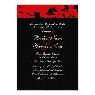 Invitación floral negra y roja del boda invitación 12,7 x 17,8 cm
