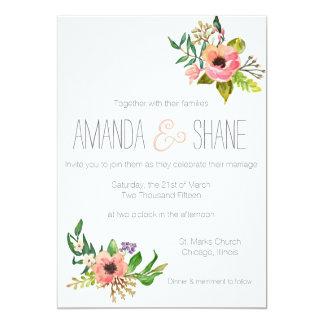 Invitación floral pintada a mano del boda de la