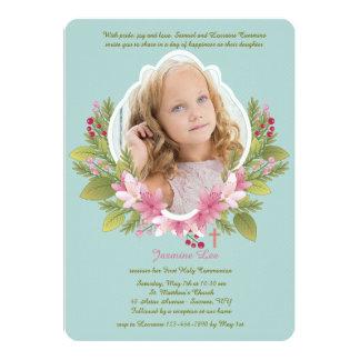 Invitación floral preciosa de la foto del marco