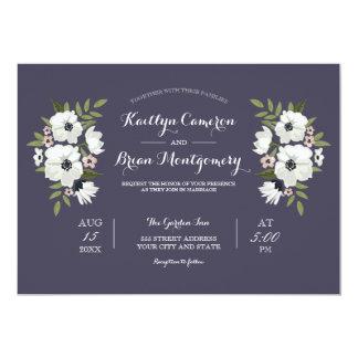 Invitación floral preciosa del boda - púrpura