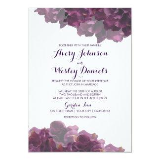 Invitación floral púrpura del boda