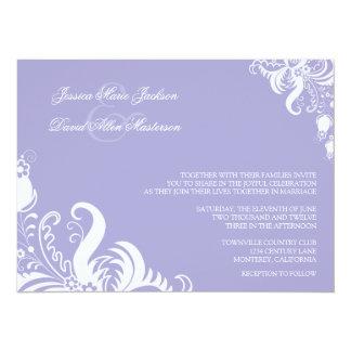 Invitación floral púrpura del boda del acento de invitación 13,9 x 19,0 cm