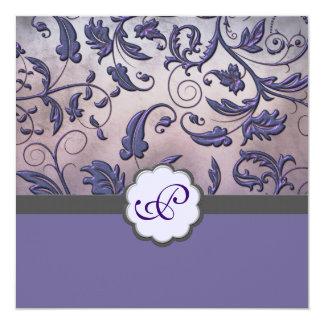 Invitación floral púrpura del monograma