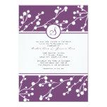 Invitación floral púrpura y blanca del boda del invitación 12,7 x 17,8 cm