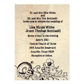 Invitación floral retra del boda