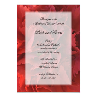 Invitación floral roja de la cena del ensayo