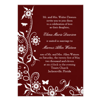 Invitación floral roja del boda del remolino del e