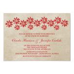 Invitación floral roja del boda del vintage
