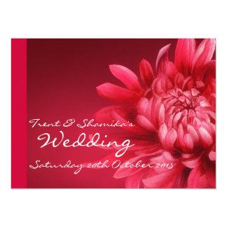 Invitación floral roja del boda + RSVP