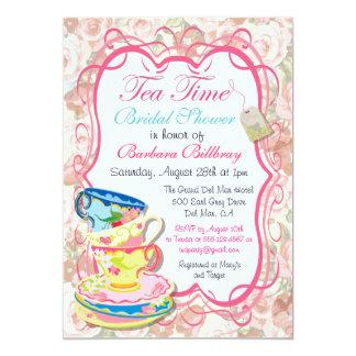 Invitación floral romántica de la fiesta del té invitación 12,7 x 17,8 cm