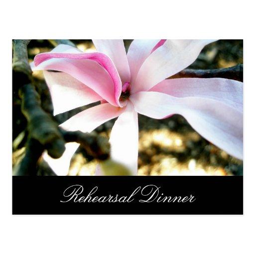 Invitación floral rosada de la cena del ensayo del tarjeta postal