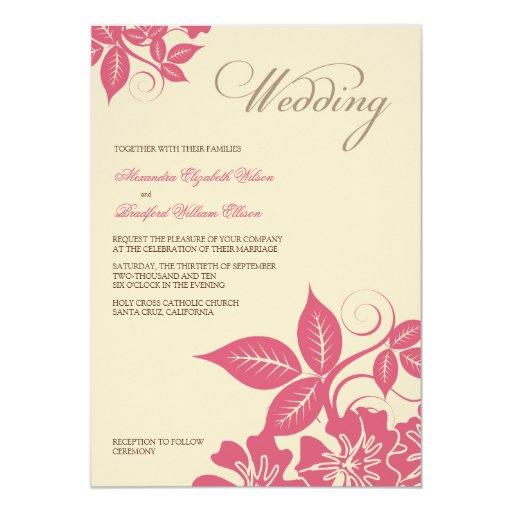 Invitación floral rosada/de la crema moderna del