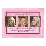 Invitación floral rosada de la fiesta de graduació