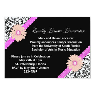 Invitación floral rosada de la graduación del