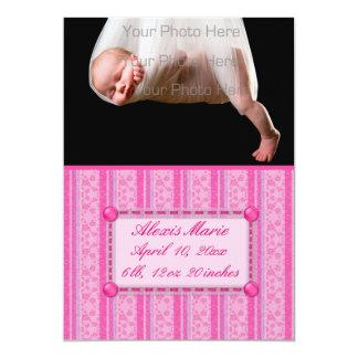 Invitación floral rosada del bebé de la raya