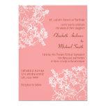 Invitación floral rosada del boda
