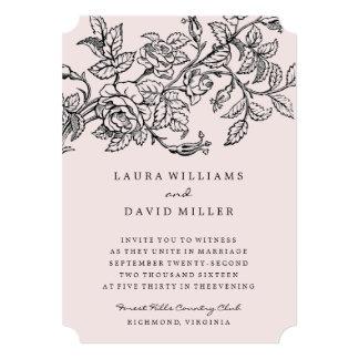 Invitación floral rosada del boda de la rosaleda invitación 12,7 x 17,8 cm