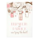 Invitación floral rosada del boda de los tarros de