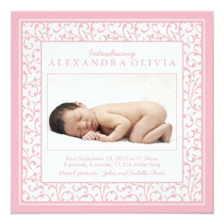 Invitación floral rosada del nacimiento de la foto