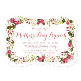 Invitación floral rosada dulce del brunch del día invitación 12,7 x 17,8 cm