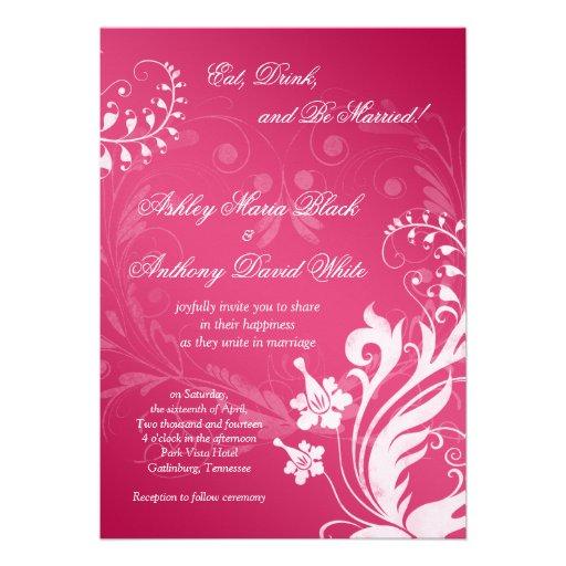 Invitación floral rosada y blanca del vintage del