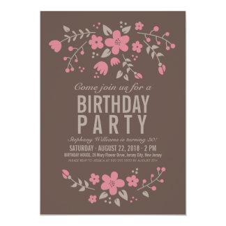 Invitación floral rústica de la fiesta de invitación 12,7 x 17,8 cm