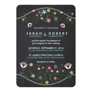 Invitación floral rústica del boda de la pizarra invitación 11,4 x 15,8 cm