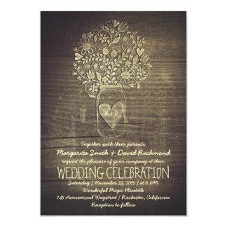 invitación floral rústica del boda del tarro de
