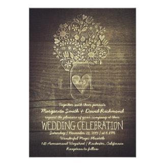 invitación floral rústica del boda del tarro de al